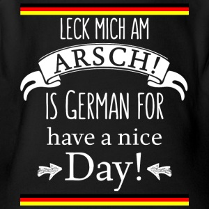Funny German Translations Leck mich am Arsch! - Short Sleeve Baby Bodysuit