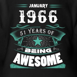 January 1966 - 51 years of being awesome (v.2017) - Short Sleeve Baby Bodysuit