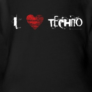 I love techno rave goa hardtek hardstyle - Short Sleeve Baby Bodysuit