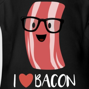 I Love Bacon T shirt Geeky Glasses Heart Bacon Car - Short Sleeve Baby Bodysuit