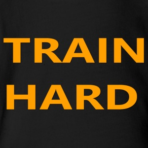TRAIN HARD ORANGE - Short Sleeve Baby Bodysuit