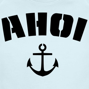Ahoi, Ahoy with anchor, stencil style - Short Sleeve Baby Bodysuit