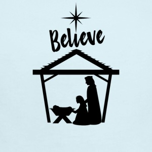 Believe Baby Jesus in the Manger - Short Sleeve Baby Bodysuit