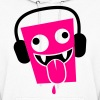 funny insane crazy face with DJ headphones  - Women's Hoodie