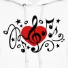 Music heart note I love classic choir star clef  - Women's Hoodie