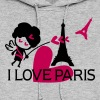 I LOVE PARIS  Eiffel tower & Cupid - Women's Hoodie