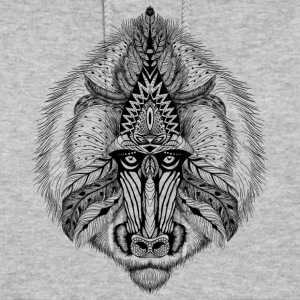 Black Textured baboon in aztec style clothing - Women's Hoodie
