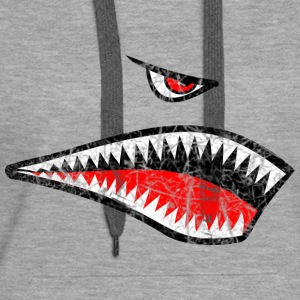 Shark Teeth Nose Art grunge - Women's Premium Hoodie