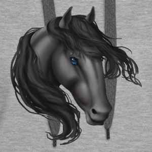 Horse Head - Grey Blue Eyes - Women's Premium Hoodie