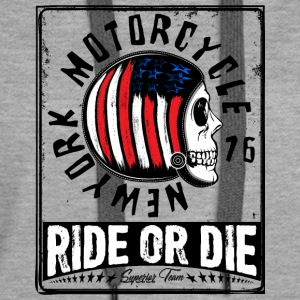 motorcycle New York motorcycle vector image skull - Women's Premium Hoodie