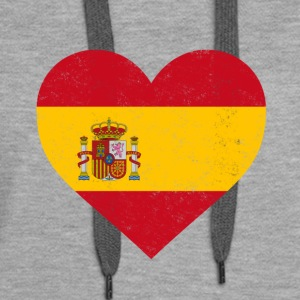 Spain Flag Shirt Heart - Spanish Shirt - Women's Premium Hoodie