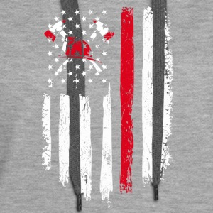 Firefighter Gift Distressed American Flag - Women's Premium Hoodie