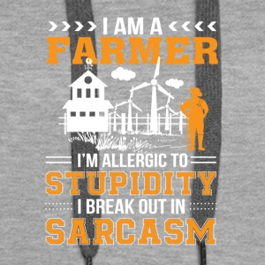 Farmer Allergic Stupid Break Out Sarcasm - Women's Premium Hoodie