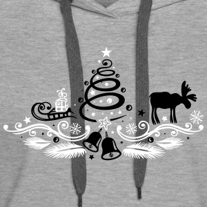 Christmas tree decoration with moose - Women's Premium Hoodie