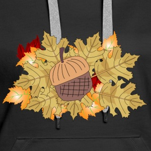 Autumn acorn whith leaves - Women's Premium Hoodie