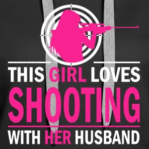 Shooting with her husband - Women's Premium Hoodie