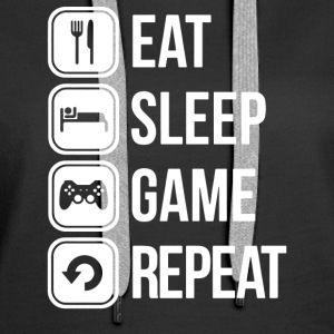 Eat Sleep Game Repeat Twitch Youtube Gamer - Women's Premium Hoodie
