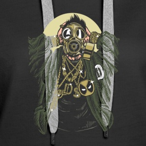 Gasmask Gangsta. The crazy bling bling guy. - Women's Premium Hoodie