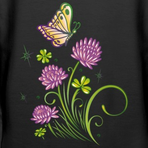 Summer meadow with clover and colorful butterfly. - Women's Premium Hoodie