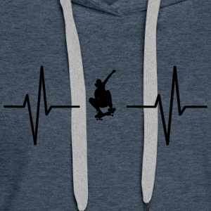 My heart beats for skateboards! gift - Women's Premium Hoodie