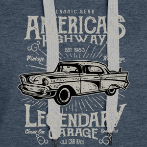 America s Highway. Classic Cars At Vintage Garage. - Women's Premium Hoodie