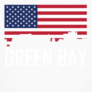 Green Bay Wisconsin Skyline American Flag - Kids' Long Sleeve T-Shirt
