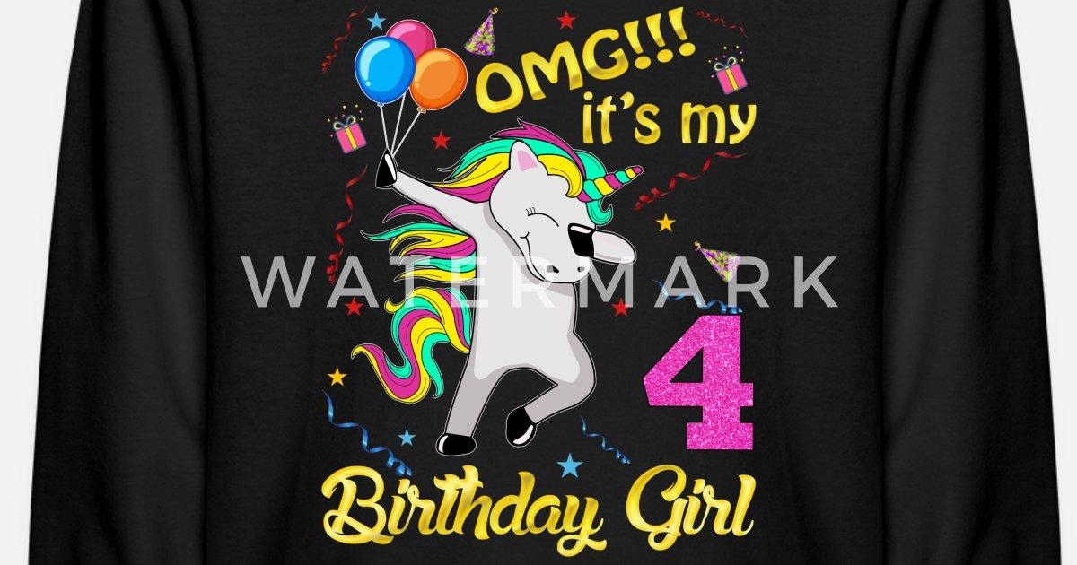 3f52bf250 Unicorn 4th Birthday Girl T-Shirt, OMG Kids' Longsleeve Shirt   Spreadshirt