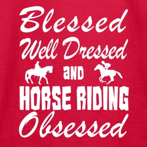 Horse Riding Love Shirt/Hoodie- Blessed & Obsessed - Kids' Long Sleeve T-Shirt