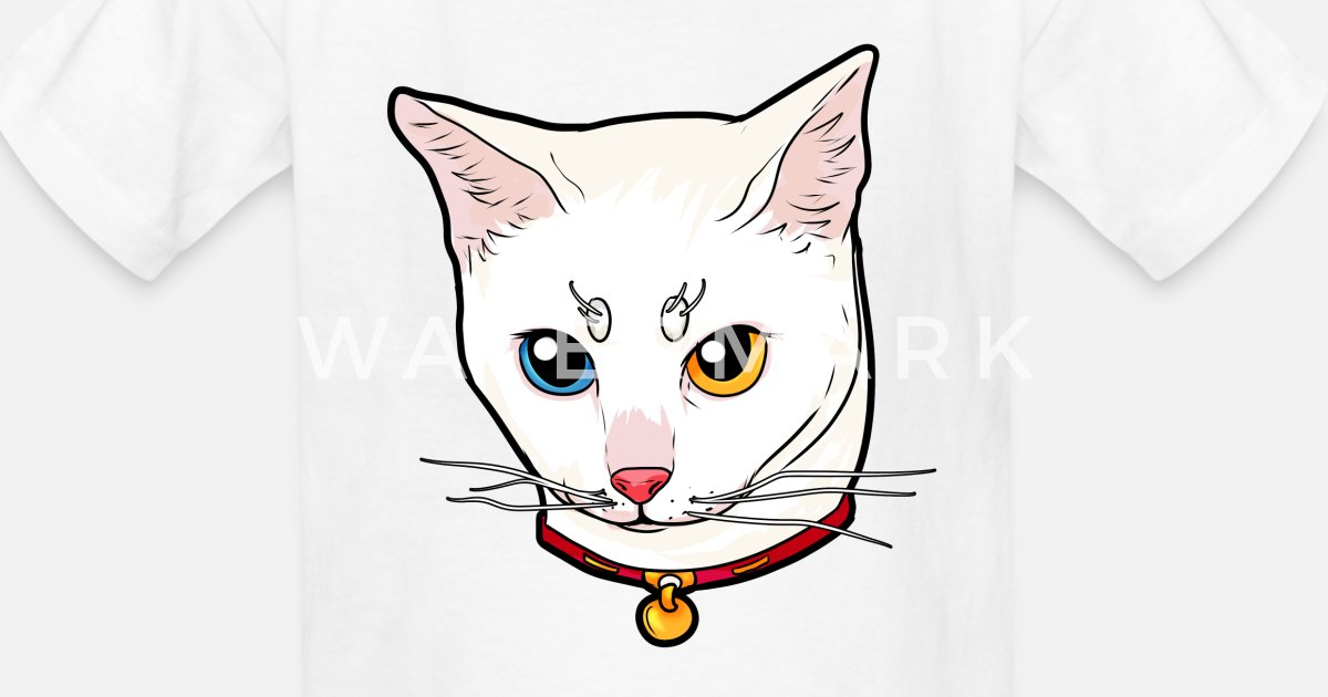 Khao Manee white Cat Face Love cool funny cute Kids' T ...