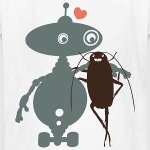 Cute robot cockroach friends falling in love - Kids' T-Shirt
