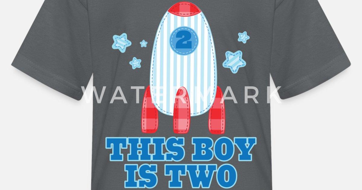 Kids T Shirt2nd Birthday Boys Rocket Ship Space
