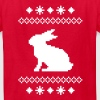 norwegian bunny christmas rabbit hare knitting pattern winter snowflake snow crystal frost snow flower cony leveret - Kids' T-Shirt