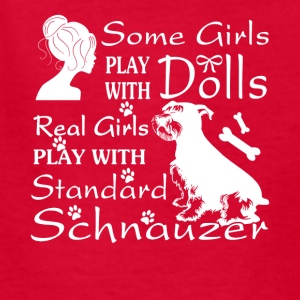 Real Girl Play With Standard Schnauzer Shirt - Kids' T-Shirt