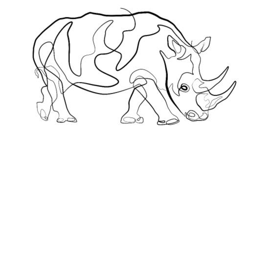 Rhino Animal - one line drawing Bandana - white