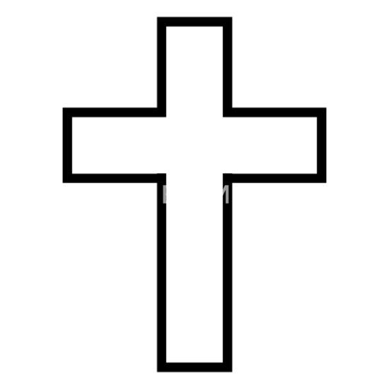Black Cross Outline T-Shirt Gift Bandana - white
