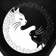 cat, yin yang Bandana , black