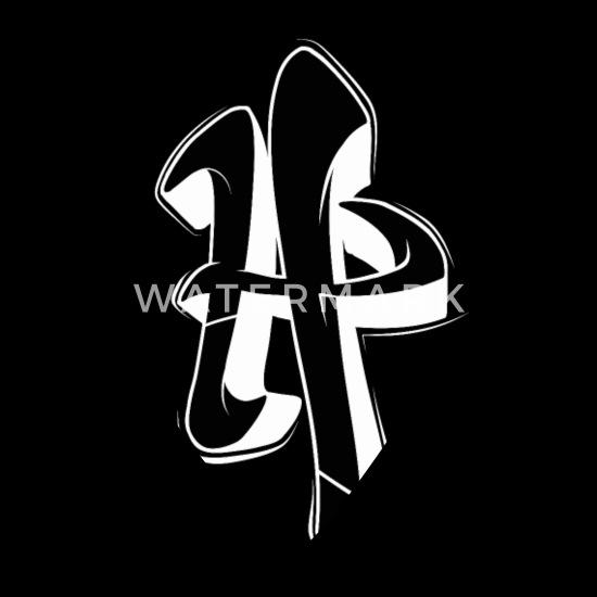 H Graffiti Letters Initial Alphabet Gift Bandana Black