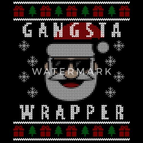 Ugly Christmas Sweater Design.Gangsta Wrapper Ugly Christmas Sweater Design Duffel Bag Black