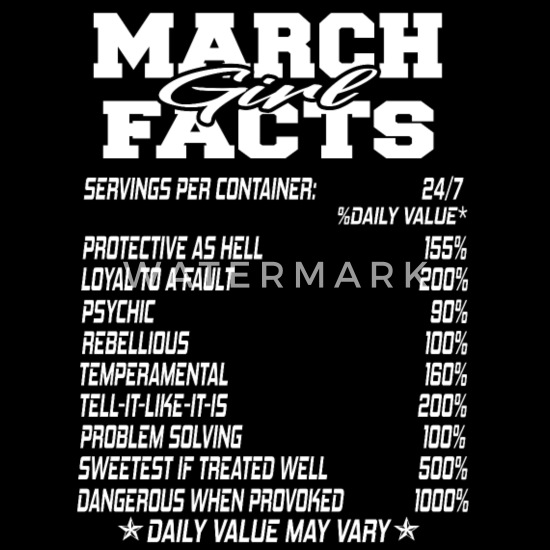 FUNNY MARCH BORN GIRL FACTS BITHMONTH FACTS 1 Men's Tall T-Shirt - black