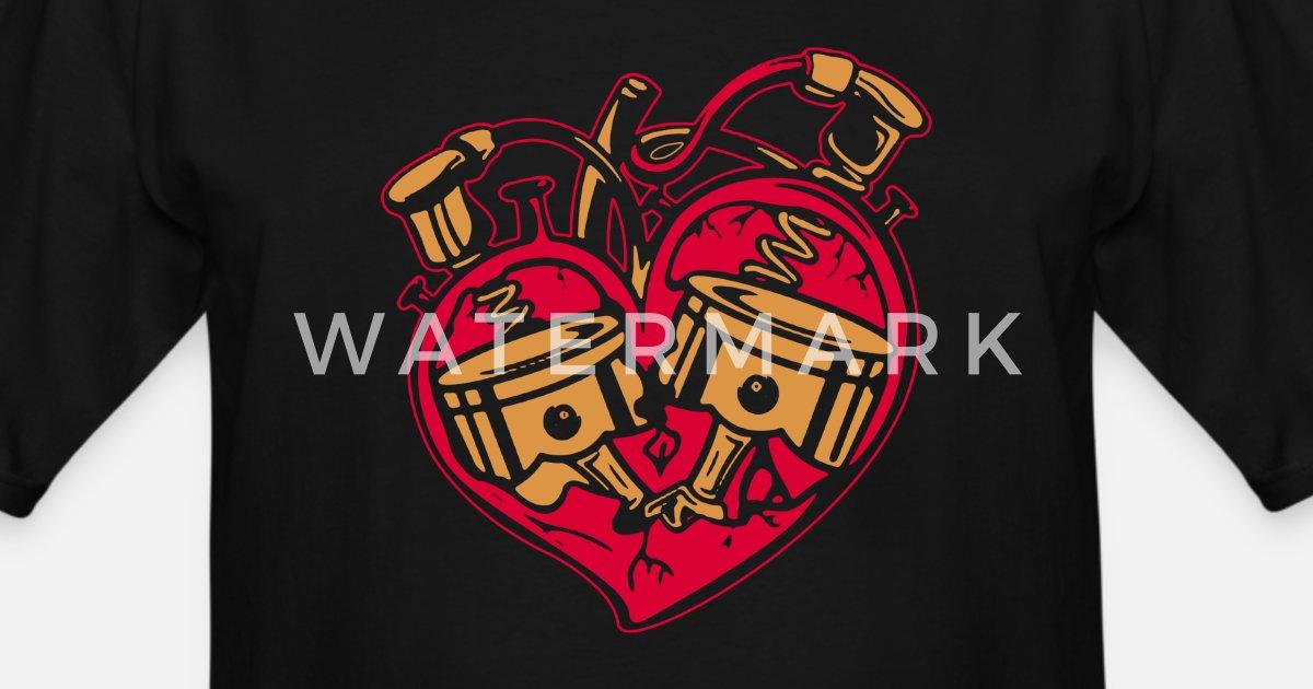 69c88dca4 HEART ENGINE PISTON DIESEL MECHANIC SHIRT Men's Tall T-Shirt | Spreadshirt