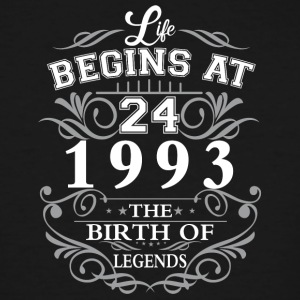 Life begins at 24 1993 The birth of legends - Men's Tall T-Shirt