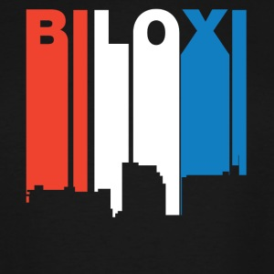 Red White And Blue Biloxi Mississippi Skyline - Men's Tall T-Shirt