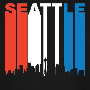 Red White And Blue Seattle Washington Skyline - Men's Tall T-Shirt