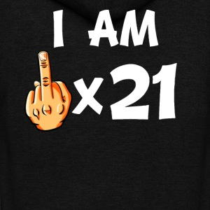 Middle Finger Times 21 Funny 21st Birthday - Unisex Fleece Zip Hoodie by American Apparel