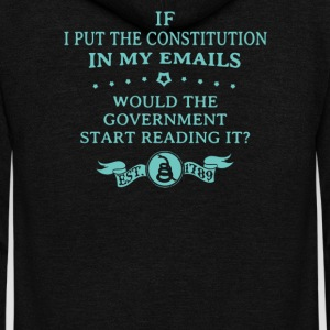 If I put the constitution in my emails - Unisex Fleece Zip Hoodie by American Apparel