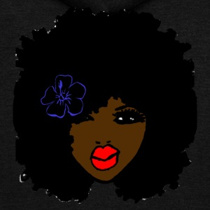 Brown skin CurlyAfro NaturalHair Flower Red Lips - Unisex Fleece Zip Hoodie by American Apparel