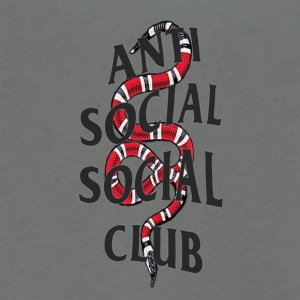 Anti social social club x snake - Unisex Fleece Zip Hoodie by American Apparel