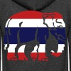 Thai Flag Elephant Crossing Sign - Unisex Fleece Zip Hoodie