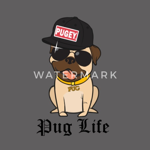 744d2ed4456 Cool Pugey Happy Pug Life Funny Thug Hat Unisex Fleece Zip Hoodie ...
