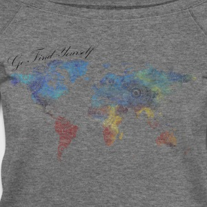 World Map as a Mandala - Go find yourself - Women's Wideneck Sweatshirt